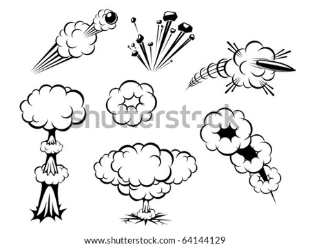Set of various explosions isolated on white. Vector version also available in gallery - stock photo