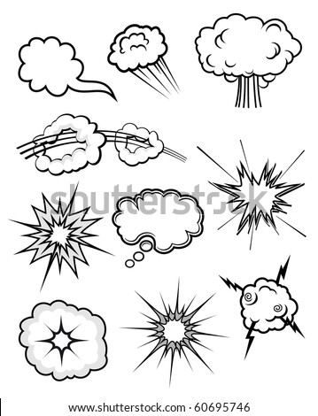 Set of various explosions. Vector version also available in gallery - stock photo