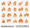 Set of various fire elements. Vector version also available in my portfolio. - stock photo