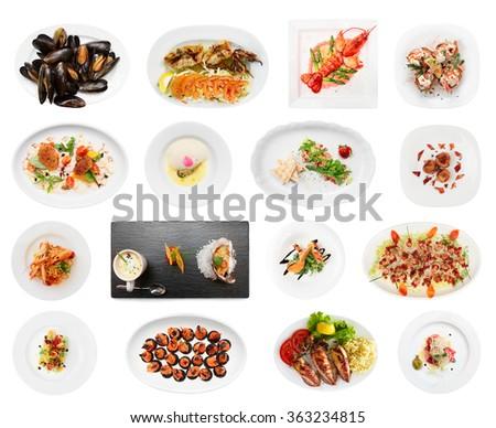 Set of various fish dishes isolated on white background - stock photo