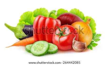 Set of various fresh vegetables over white background, with clipping path - stock photo