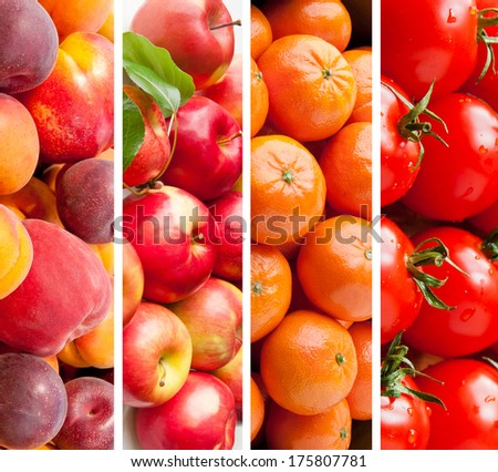 Set of various  fruits and vegetables, healthy food background - stock photo