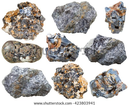 set of various Galena (lead glance, galenite) natural mineral stones isolated on white background