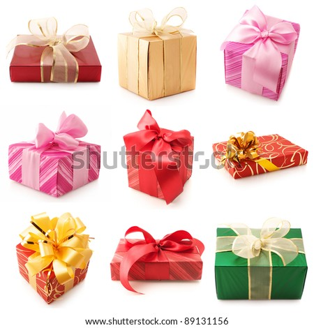 Set of various gifts isolated on white background. - stock photo