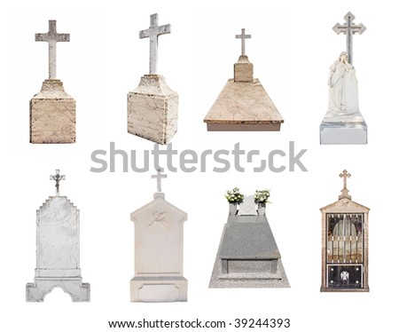 Set of various gravestones isolated on white background - stock photo