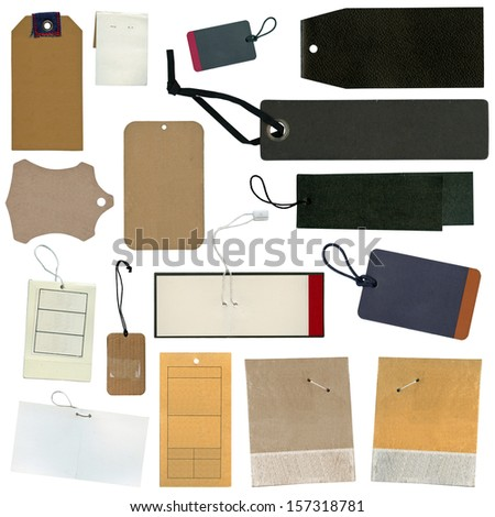 Set of various grungy aged paper tags - stock photo