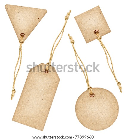 Set of various grungy aged paper tags with metal rivets and simple traditional strings, isolated on white background, highly detailed - stock photo