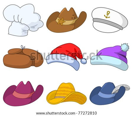 set of various hats: Santa Claus, cook, sheriff, musketeer, captain and others