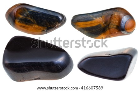 set of various hawk eye (blue tigereye, hawk-eye, hawks eye, hawks-eye)) natural mineral stones and gemstones isolated on white background - stock photo
