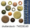 Set of various jeans' metal rivets and buttons, isolated on white background - stock photo