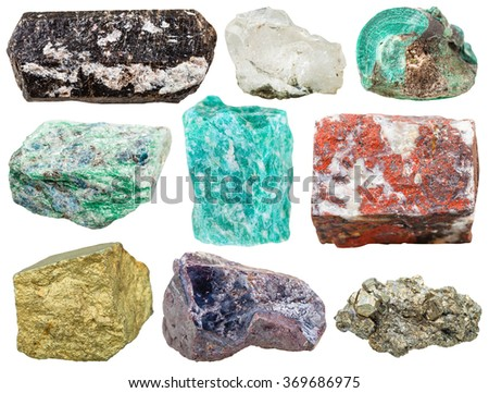 set of various mineral rocks and stones - Tourmaline Dravite, rock crystal, Malachite, Fuchsite, amazonite, jasper, Chalcopyrite, Cuprite, pyrite gem stones isolated on white background