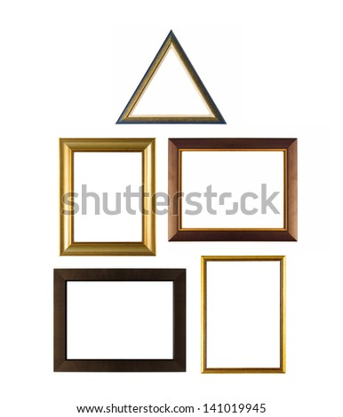Set of various modern and vintage picture frames isolated on white - stock photo