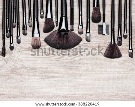 Set of various natural bristle makeup brushes: for applying foundation, powder, blush, eyeshadow, eyebrow brushes and others. Professional tools of make-up artist on shabby wooden surface. Copy space - stock photo
