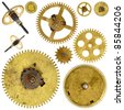 Set of various old cogwheels - gears - on white background - stock photo