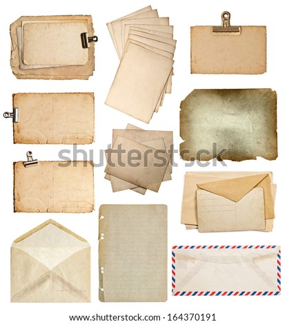 set of various old paper sheets. vintage photo album and book pages, cards, envelopes isolated on white background - stock photo