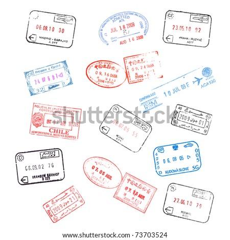 set of various passport visa stamps - stock photo
