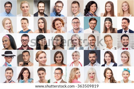 Set of various people expressing positive emotions - stock photo