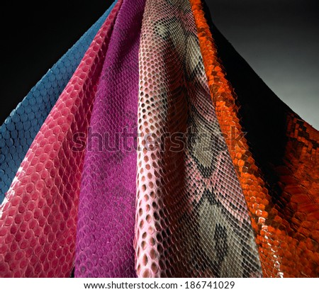 set of various python skin hanging from high. - stock photo