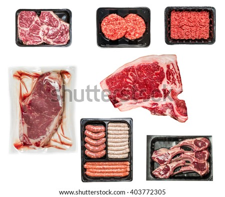 set of various raw meat in a plastic tray isolated on white background - stock photo