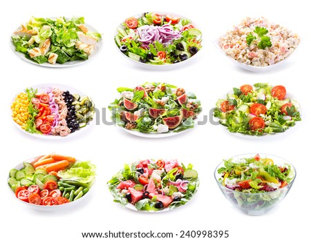 set of various salads on white background - stock photo