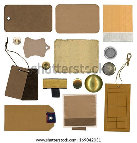 set of various shapes grungy aged paper tags - stock photo