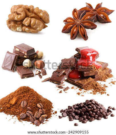 Set of various spice and chocolate on white background - stock photo