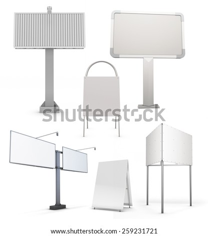 Set of various street billboards isolated on white background. 3d illustration. - stock photo