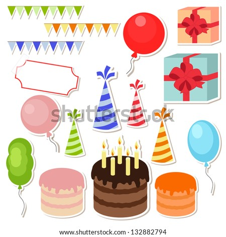 Set Vector Birthday Party Elements Photo Stock Illustration