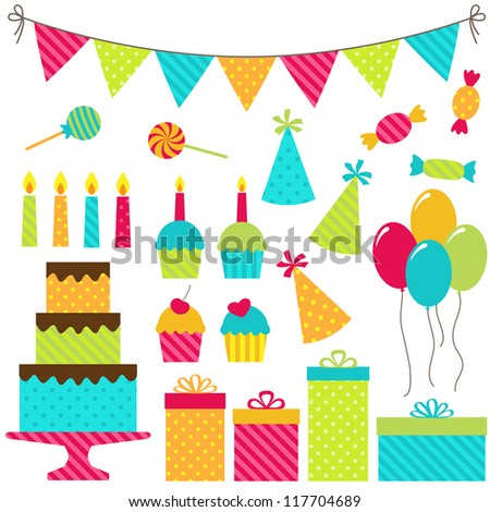 Set of vector birthday party elements. Raster version. - stock photo