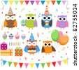 Set of vector birthday party elements with cute owls. Raster version. - stock photo