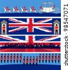 Set of vector templates for a British royal celebration, with a State Symbols and Union Jacks - stock photo