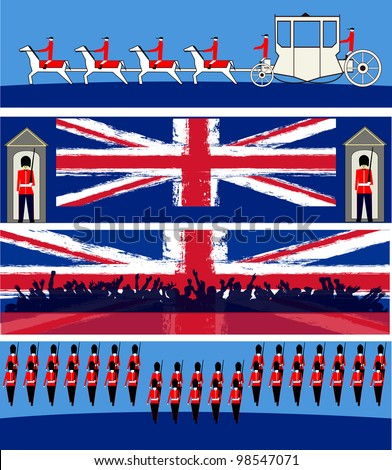Set of vector templates for a British royal celebration, with a State Symbols and Union Jacks