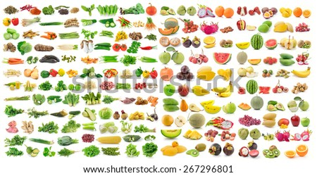 set of vegetable and fruit on white background - stock photo