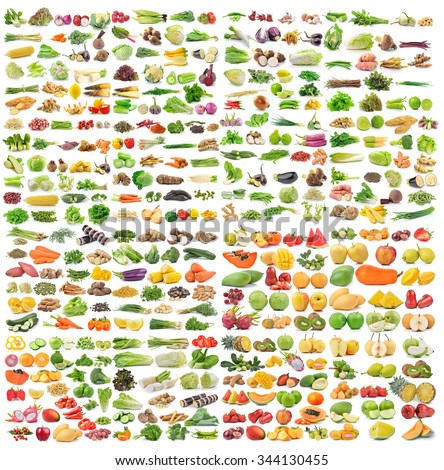 set of vegetable and fruit on white background - stock photo