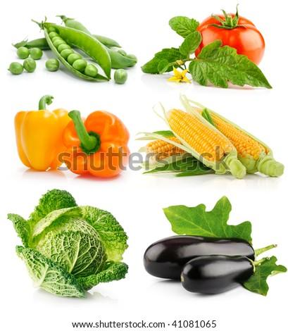 set of vegetable fruits isolated on white background - stock photo