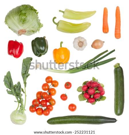 Set of vegetable isolated on white background - stock photo