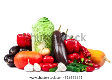 Set of vegetables and fruits isolated on white background.