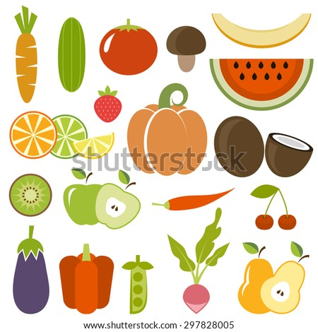 Set of vegetables and fruits. Raster version - stock photo