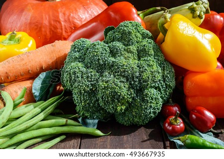Set of vegetables (broccoli, carrots, green beans, squash, sweet pepper, chili, zucchini) for the preparation of healthy meals. Close-up.