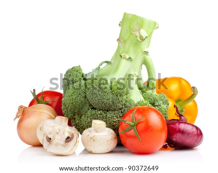 Set of vegetables: Broccoli, tomatoes, onions, garlic, parsley, mushrooms and yellow pepper isolated on white background - stock photo