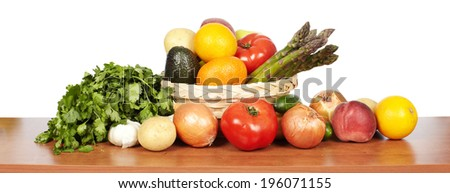 Set of vegetables. Healthy food and diet background. - stock photo