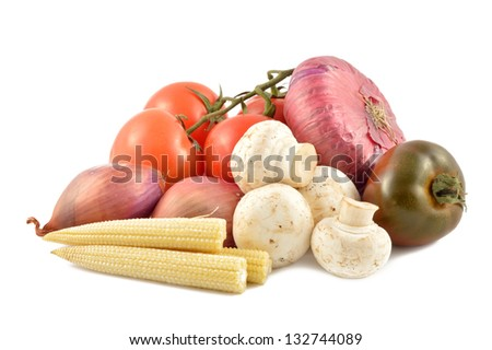 Set of vegetables on a white background close-up - stock photo