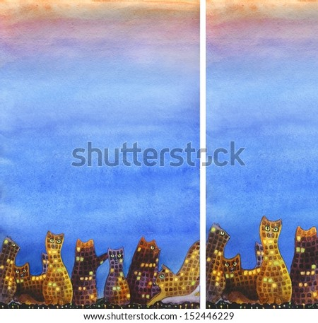 Set of 2 vertical banners of night city with cats and plenty of light space for text - stock photo