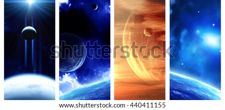 Set of vertical space banners with planets, nebula and stars. Elements of this images furnished by NASA. 3d render - stock photo