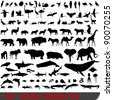 Set of 100 very detailed animal silhouettes - stock vector