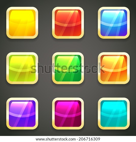 Set of vibrant bright glossy web buttons with gold metallic frames around a chamfered square shape with reflections in the colors of the spectrum or rainbow - stock photo