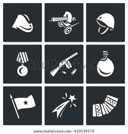Set of Victory Day in Russia Icons. Garrison cap, Machine gun, Helmet, Order, Submachine, Flask, Flag, Firework, Harmonic. Hat, Weapon, Medal, Gun, Water, Banner, Celebration, Music.