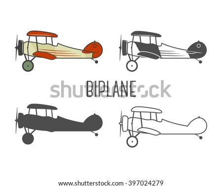 Set of vintage aircraft design elements. Retro Biplanes in color, line, silhouette, monochrome designs. Aviation symbols. Biplane emblem. Old style planes. Isolated on white background - stock photo