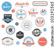 Set of vintage and modern bicycle shop badges and labels - stock vector