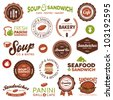 Set of vintage and modern sandwich shop and bistro cafe labels - stock photo
